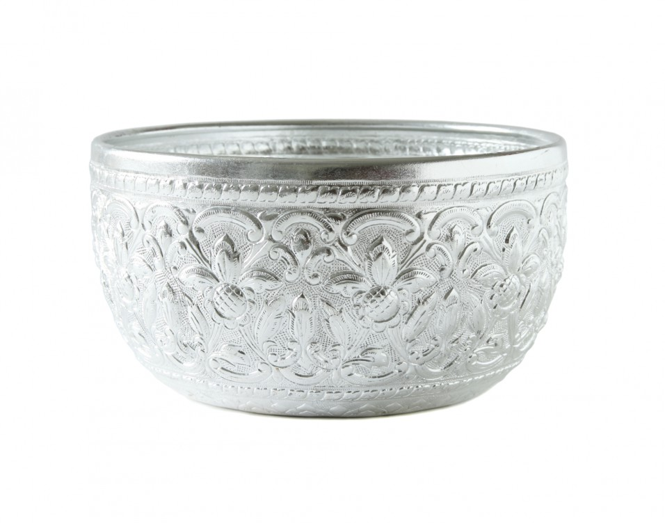 silver bowl isolated on white